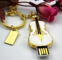 Free shipping 10pcs/lot White Violin Crystal Jewelry USB 2.0 Flash Drive 4GB 8GB