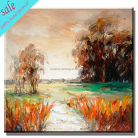 Handmade beautiful scenery oil painting on canvas in stock