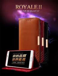 Wholesale KLD Premium Leather folio flip cover case for samsung A7