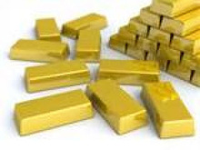 gold bars, gold dust and rough diamonds