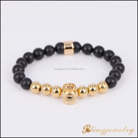 18k gold plating 925 silver skull & round beads natural stone bead bracelet