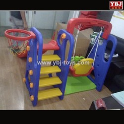 2015 cheap funny kindergarten plastic cubby house with slide and swing for kids outdoor indoor