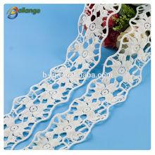 de color blanco de tela de encaje de tela para el diseño personalizado de algodón blanco de encaje de ganchillo trim