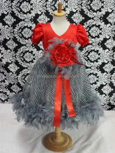 Hot sale red feather birthday dress baby girl evening party dress