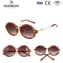 Fashion High Quality Women Round Sunglasses Arrow Style Glasses Metal Frame Coating Retro
