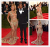 Latest Met Gala Beyonce Celebrity Dresses 2015 Sexy See Though Luxury Heavy Beaded Long Train Red Carpet Dresses (ED263)