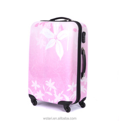 Women flower trolley luggage, female travel suitcases universal wheels bags make up case