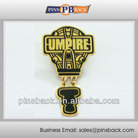 Umpire office logo Gold trading Hard enamel trading pin with dangle