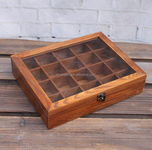 Antique made Plastic window Solid wood dividers box for tea bags