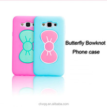 Factory price multi-colored butterfly design TPU+ Silicone stand back cover case for samsung galaxy a7