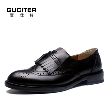 Pure manual Calf leather Dark coffee Men's shoes