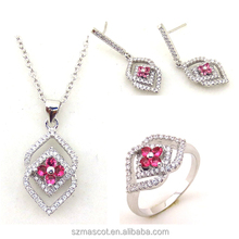 Hot Sale Micro Pave Setting Rhodium Plating Clear with Pink CZ Fashion Jewelry Set
