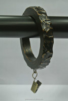 "Drapery Hardware Supplies, Hammered Drapery Rings With Clips For 1-1/2"", 1-3/4"" and 2"" Wooden Curtain Rods"