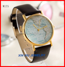 Fashion Map Leather Wrist Watch for Men