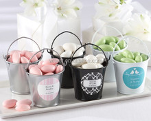 Colorful Mini Tin Buckets pails with personalized sticker