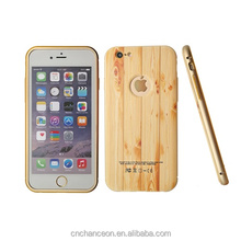 Metal frame PC 3D printing wooden pattern back cover phone case for iphone 6 CO-MIX-9018