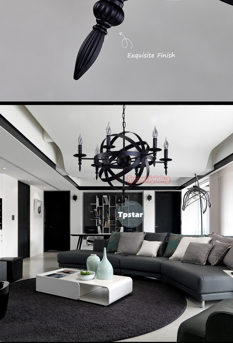 Loft hanglamp retro amerikaanse industriële zwart ijzer ronde ...