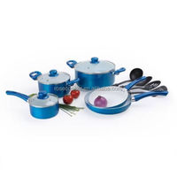 9pcs Aluminum Ceramic coating cookware set w/ nylon tools