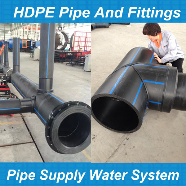Butt fusion hdpe pipe fitting equal tee polyethylene