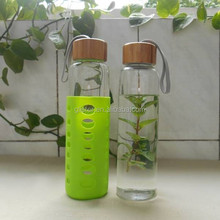 500ml wide top pyrex glass water bottle with bamboo top