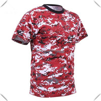 crew neck short sleeve Digital sublimation printing red camo t shirts100 polyester dri fit for men custom made wholesale