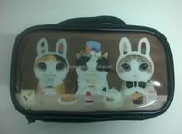 Wholesale cat print travel carton cosmetic bag for women