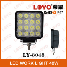 Polular 48w led work light, offroad 4x4 car led work light 48w square , waterproof IP67 for 4wd atv suv led worklight for trucks