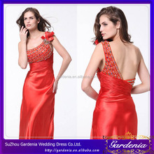 Hot Selling Sexy One-Shoulder Scalloped Neckline Open Back Sequins Beaded Taffeta Full Length Red Orange Cocktail Dress (CD-047)