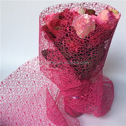 Rose Red Mesh Fabric For Floral And Gift Wrapper, Tabble Runner ,Wedding Deco