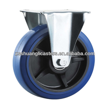 Industrial elastic rubber BZP steel housing rigid caster