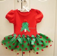 Christmas green&red polka dot printed ruffle baby dress for 2015