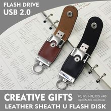 Real Capacity usb flash drive Leather & metal keyring PenDrive & pen drive usb 2.0 flash drive 64gb Memory U Disk & u stick