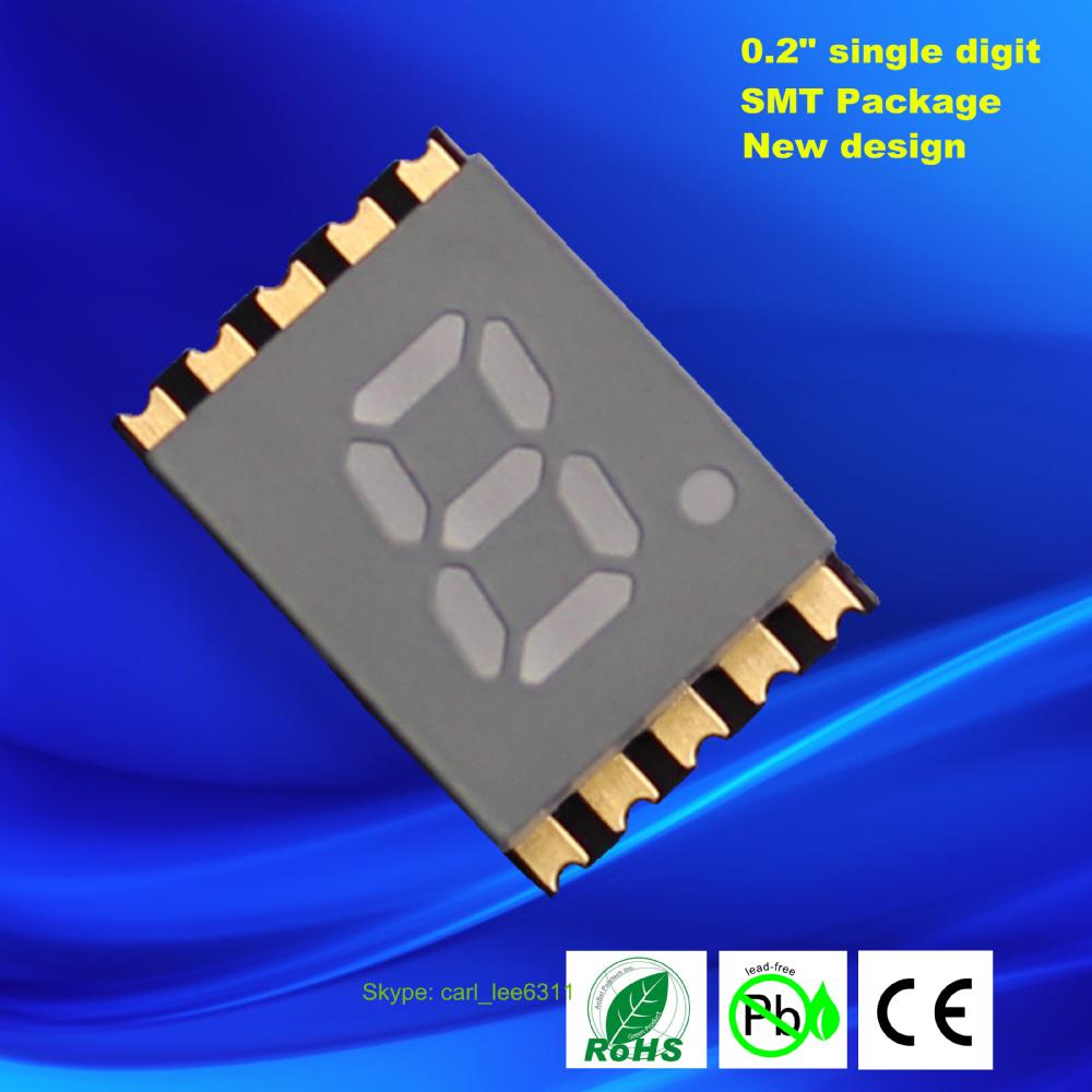 0.2 inch ultra thin 1 digit 7 segment led smd display 0.2