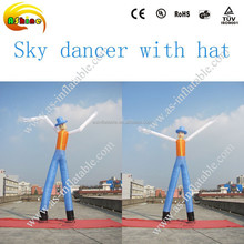 Inflatable sky dancer with hat,two legs human inflatable air dancer from China