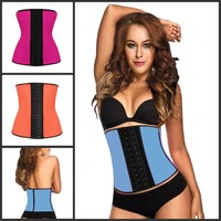 2015 Best selling latex plus size waist training corset bustier with 9 steel boned