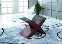 CF305B modern white lacquer wooden glass coffee table