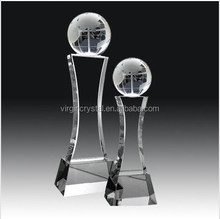 Wholesale Blank Top Quality Crystal Glass Globe on Stand Trophy Awards