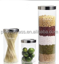 useful cylindrical glass container with metal cap/ food glass
