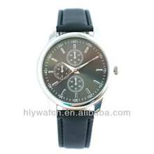 Factory Main Product Custom Classic 3 Eye Japan Movt Business Style Genuine Leather Strap Watches
