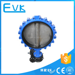 Rubber Seal Cast Iron Lug Type Butterfly Valve Gear Operated