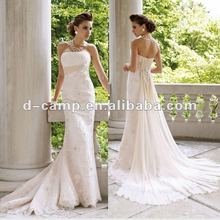 WD-610 the latest model magnificent beaded ruched empire waistband lace and chiffon wedding dresses