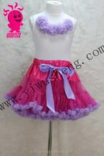 Fashion Baby beautiful pettiskirt dress for girls baby cotton top with chiffon ruffle pettiskirt