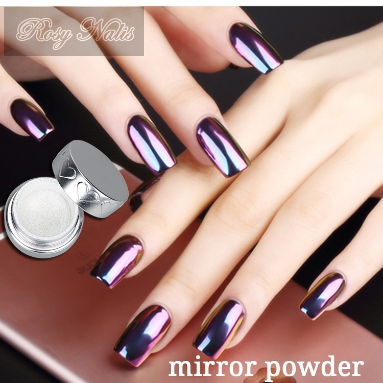 Vernis ongles miroir effet glitter pigment chrome for Decoracion de unas espejo 2017