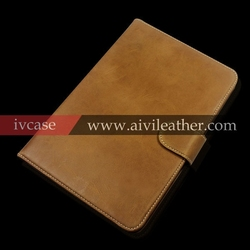 2015 brown italian genuine cow leather cover for iPad mini 2 3 stand sleep wake up horizontal flip case
