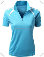 2015 stylish designer Women's Cool dry fit performance two Tone Collar 1/4 half Zip up Polo T-Shirt custom for golf sports
