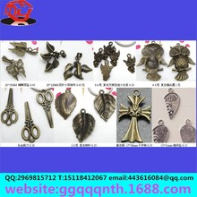 peach Heart/leaves/guitar/butterfly/Mosaic/angel girl/owl/scissors/cross/heart couples antique metal alloy pendant for jewelry