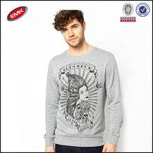 cómoda tela jersey a granel crewneck venta al por mayor para hombre sudadera con capucha con tatuaje de impresión
