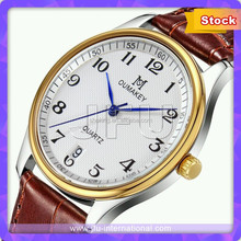 Red Leather Strap Business Men Wrist Watch With Matching Lady Style