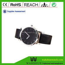 Thin style alloy case with customer's LOGO on dial alloy leather band men watch