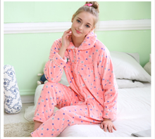 2015 Autumn & Winter New women cartoon animal print long sleeve coral fleece night suit pajama sets lounge wear